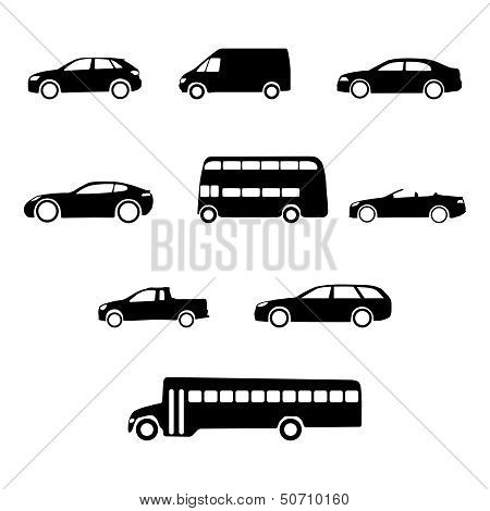 Vector Vehicles Silhouettes