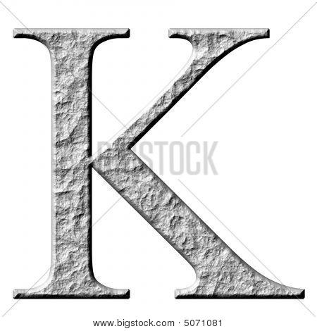 3D Stone Greek Letter Kappa