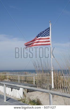 American Flag On The  Beach