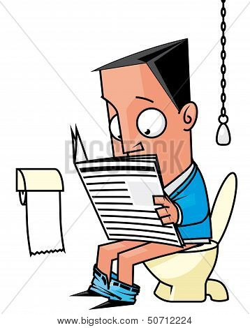 Businessman Reading A Newspaper In The Toilet