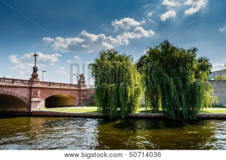 Moltke Bridge Over The Spree River In Berlin, Germany