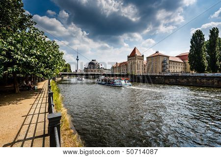 River Spree Embankment And Museum Island, Berlin, Germany