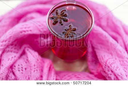 Red Tea (karkade) with a scarf. autumn