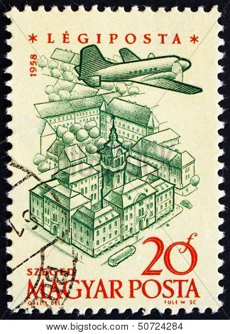 Postage Stamp Hungary 1958 Plane Over Szeged