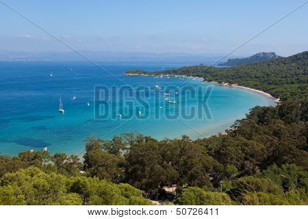 Beautiful Bay Of Porquerolles Island In France