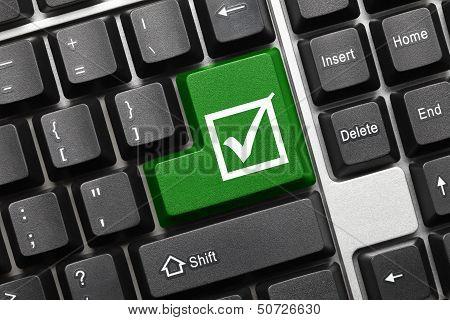 Conceptual Keyboard - Checkbox With Tick (green Key)