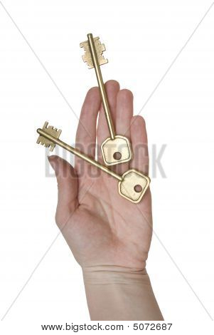 Two Golden Keys On A Woman Palm