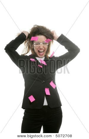 Businesswoman With Multi Task Pink Notes