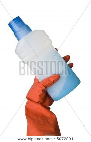 Blue Bottle And A Female Hand In Red Kitchen Glove