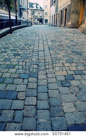 Old European Street With Cobblestone