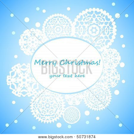 White round papercut snowflakes on blue christmas card background, vector