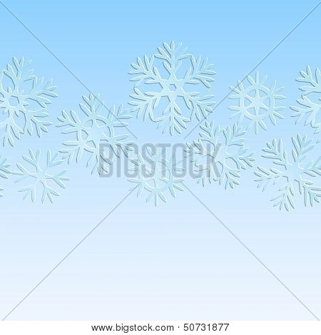 Blue and white paper snowflakes christmas seamless pattern, vector