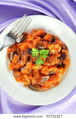 Aubergine Stew With Onions And Tomato
