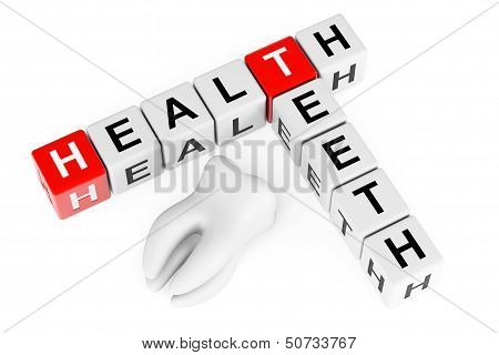 Health Teeth Concept. Sign As Crossword Blocks With Tooth