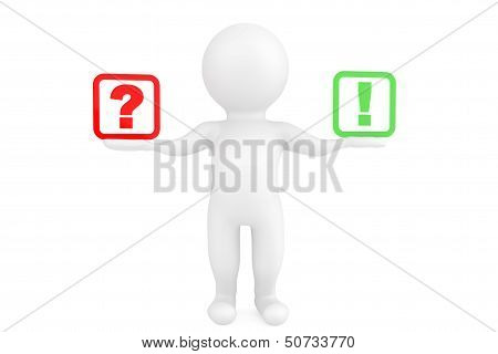 3D Person With Exclamation And Question Marks In Hands