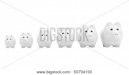 Growing Investment Concept.  Piggy Banks In Row