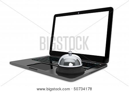 Internet Service Concept. Moder Laptop With Service Bell