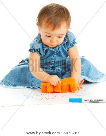 Kid Wiping A Board
