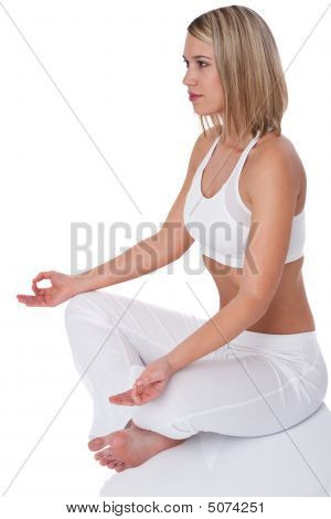 Fitness Series  Blond Woman In Yoga Position