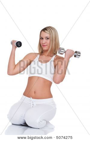 Fitness Series  Young Blond Woman With Weights