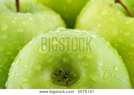 Waterdrops On Green Apple