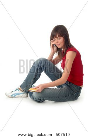 Woman With Credit Card And Mobile Phone