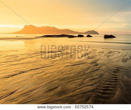 Golden light at beach in asia