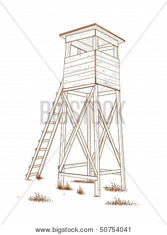 Hunting tower - hand drawn.