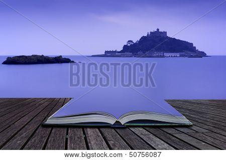 Creative Concept Pages Of Book St Michael's Mount Bay Marazion Landscape Pre-dawn Long Exposure Corn