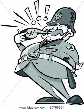 Vintage Styled Policeman with a whistle