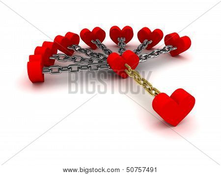 Seven hearts linked with one heart. Dependence on past relations.