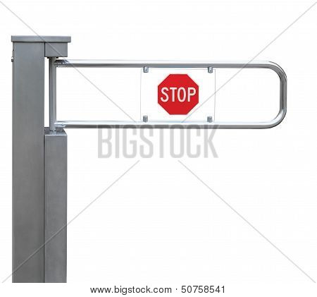 Entrance Tourniquet, Detailed Turnstile, Stainless Steel, Red Stop Sign, Isolated Closeup