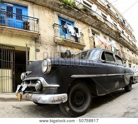 Classic Old Car Is Black Color