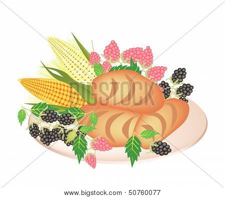 A Plate Of Cornbread With Berry Fruit And Sweet Corn