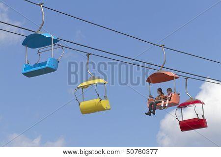 Kids Ride A Sky Tram at NC State Fair