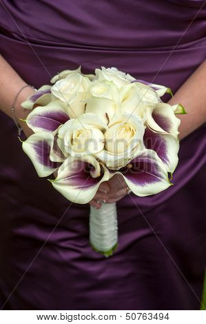 Bridesmaid With Wedding Bouquet