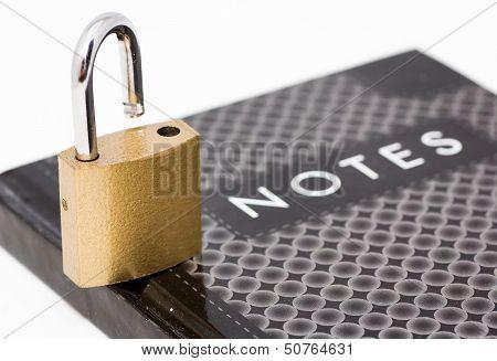 Padlock On Notepad