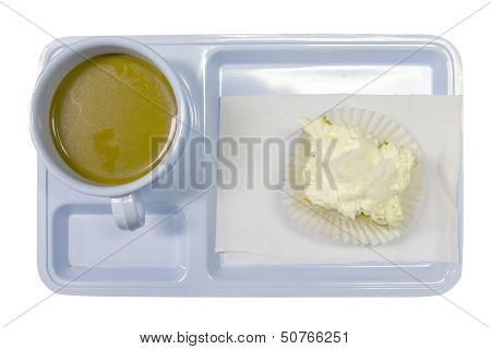 Hot Cup Of Coffee With Cake On Isloated.