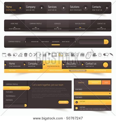 Web site navigation menu pack with icons set