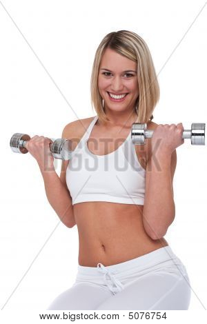 Fitness Series - Blond Woman With Weights