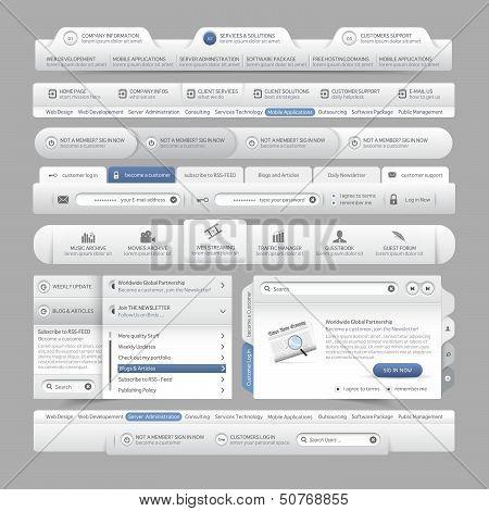 Elementos del sitio web plantilla diseño menú Navegación