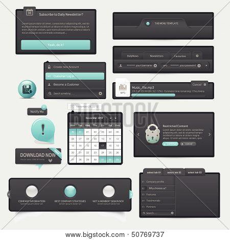 Website template design menu navigation elements with icon set