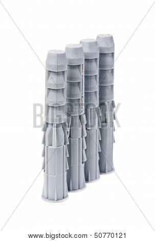 Plastic Straddling Dowel On White Background