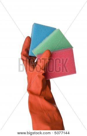 Kitchen Sponges And Hand In Red Glove