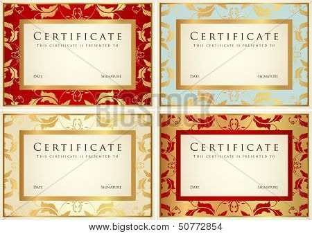 Certificate, Diploma of completion (Gold design templates)