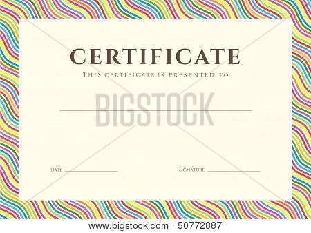 Certificate, Diploma of completion (colorful design template)