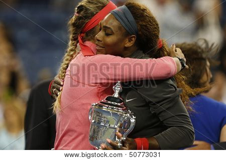 Finalist Victoria Azarenka congratulates winner Serena Williams after she lost final at US Open 2013