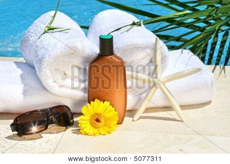 White Spa Towels By The Pool