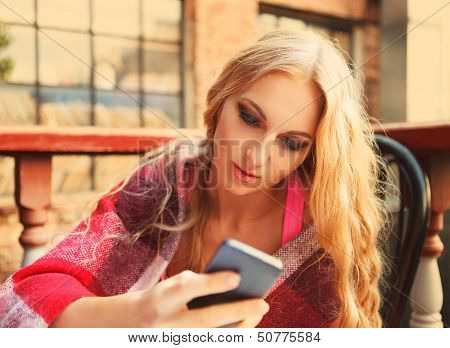 Cafe City Lifestyle Woman With Mobile Phone