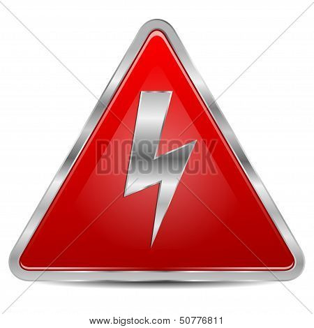 High Voltage Sign On A White Background